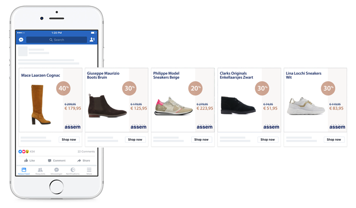 Example of a custom facebook dynamic ad example with persuasion by van den assem
