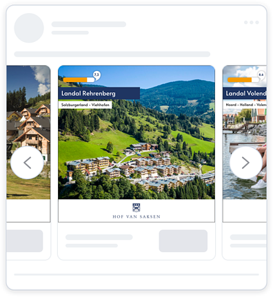 Facebook dynamic ad from Landal Greenparks. The ad features branding, product image, product name and persuasion in the form of social proof: customer ratings.