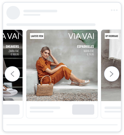Facebook dynamic ad from the shoe retailer VIA VAI. The ad features branding, product image, product name and price and persuasion in the form of urgency: last item sticker.